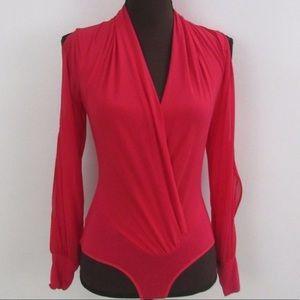 Bebe NWOT S super low cut red sexy bodysuit